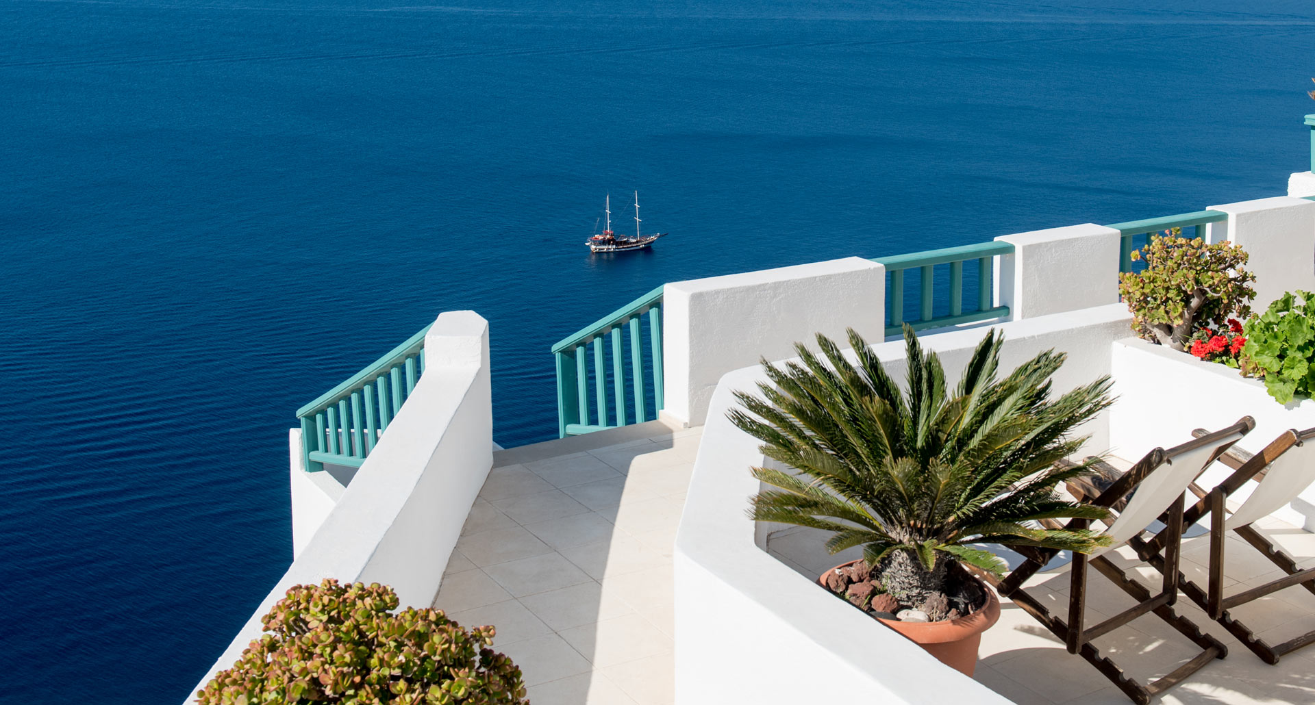 Stunning sea view from Strogili Apartments in Oia Santorini
