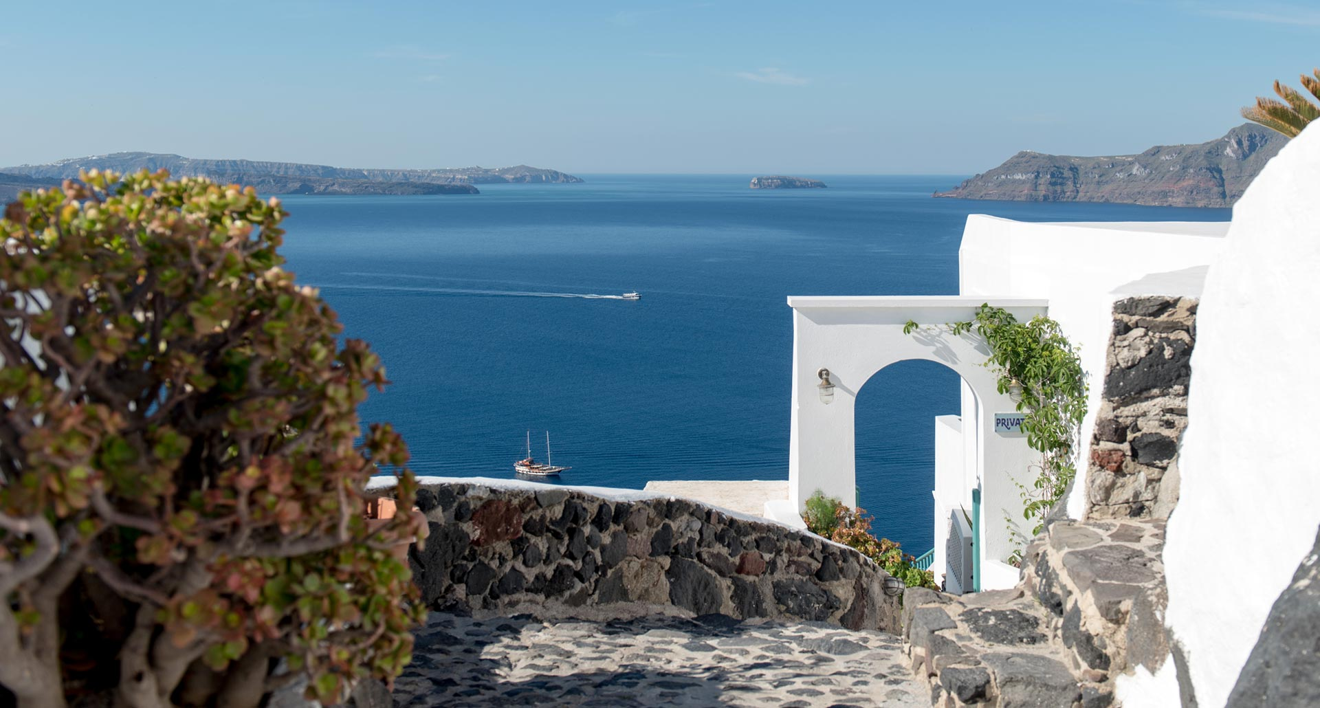 Amazing sea view from Strogili Apartments in Oia Santorini